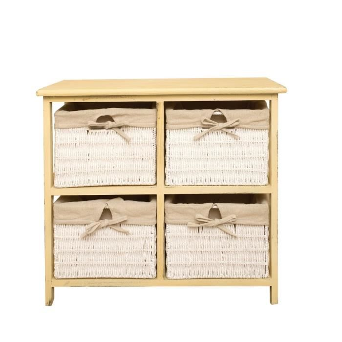 commode meuble de rangement 4 tiroirs country bois osier beige rustique chambre achat vente. Black Bedroom Furniture Sets. Home Design Ideas