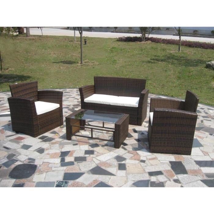 Ensembles de meubles d\'exterieur Salon de jardin resine tressee marron  chocolat