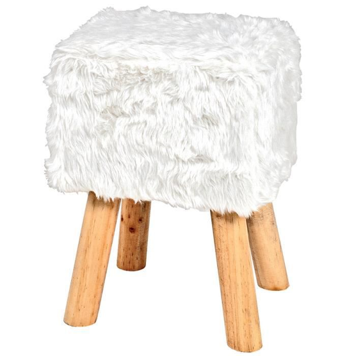 tabouret carr fourrure synth tique et bois serafus 2 blanc achat vente pouf poire cdiscount. Black Bedroom Furniture Sets. Home Design Ideas