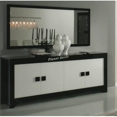 bahut 4 portes miroir 180cm pisa noir blanc achat vente buffet bahut bahut 4 portes. Black Bedroom Furniture Sets. Home Design Ideas
