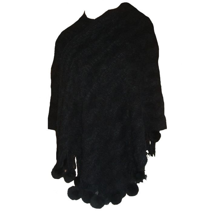 poncho femme cape grand mod le noir pompons noir achat vente manteau caban 3662017002223. Black Bedroom Furniture Sets. Home Design Ideas