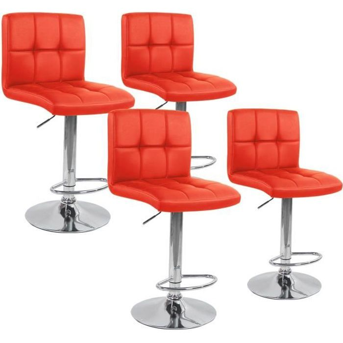 lot de 4 tabourets de bar elegant rouge achat vente tabouret de bar rouge cdiscount. Black Bedroom Furniture Sets. Home Design Ideas