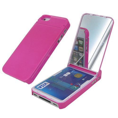 Coque porte carte miroir pour iphone 4 4s rose achat for Application miroir pour iphone