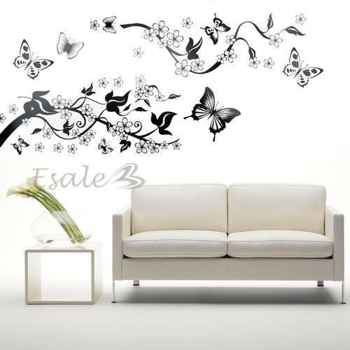 Sticker mur auto collant en pvc fleur lierre papillon for Auto collant mural