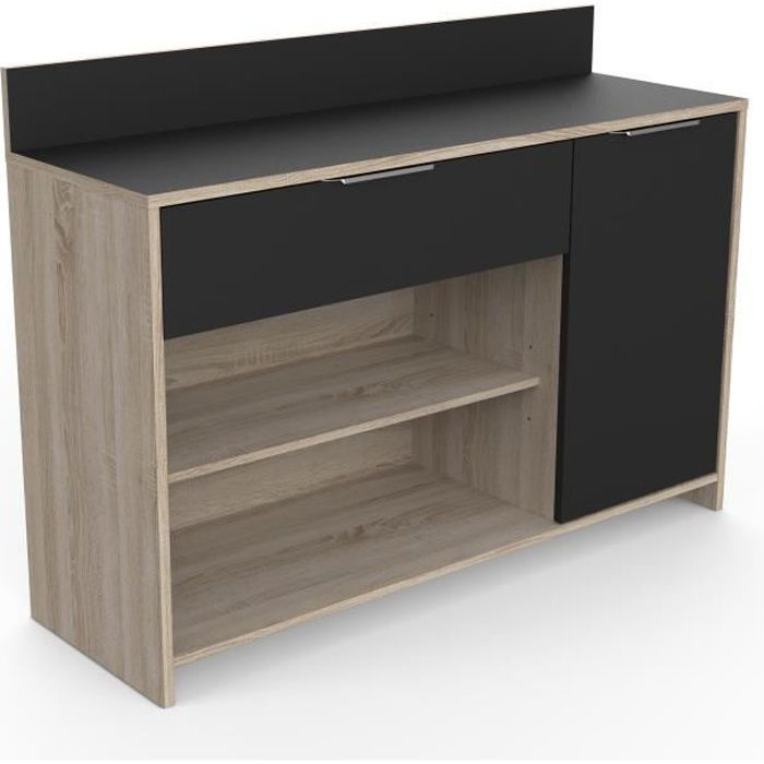mike buffet de cuisine l 123cm d cor ch ne brut et noir achat vente buffet de cuisine. Black Bedroom Furniture Sets. Home Design Ideas