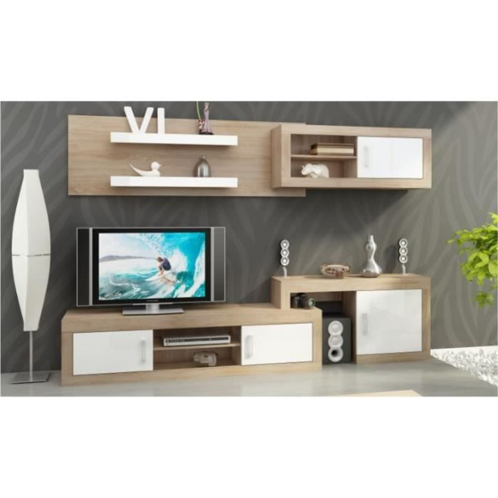 ensemble meuble tv mural notti a chene et blanc achat vente meuble tv ensemble meuble tv. Black Bedroom Furniture Sets. Home Design Ideas
