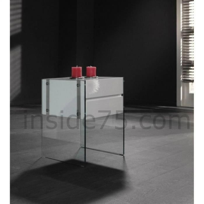 table de chevet bedtable laqu e blanc et pi tem achat vente chevet table de chevet bedtable. Black Bedroom Furniture Sets. Home Design Ideas