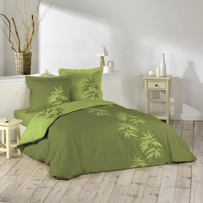 housse de couette 2 taies 240x260 bamboo vert achat. Black Bedroom Furniture Sets. Home Design Ideas