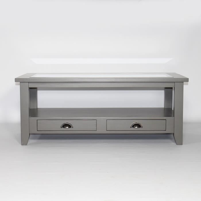 table basse bois massif gris fonc plateau en verre calvi. Black Bedroom Furniture Sets. Home Design Ideas