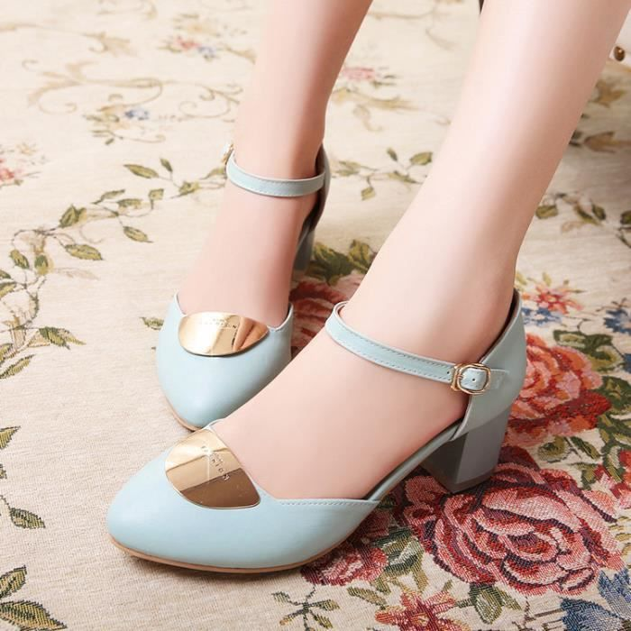 talons hauts-Pure Color Thick Heel Women M tal ...
