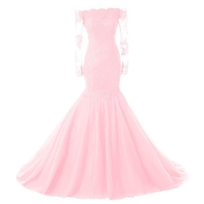 Rose pâle Robe Longue de Soirée Mariage Col
