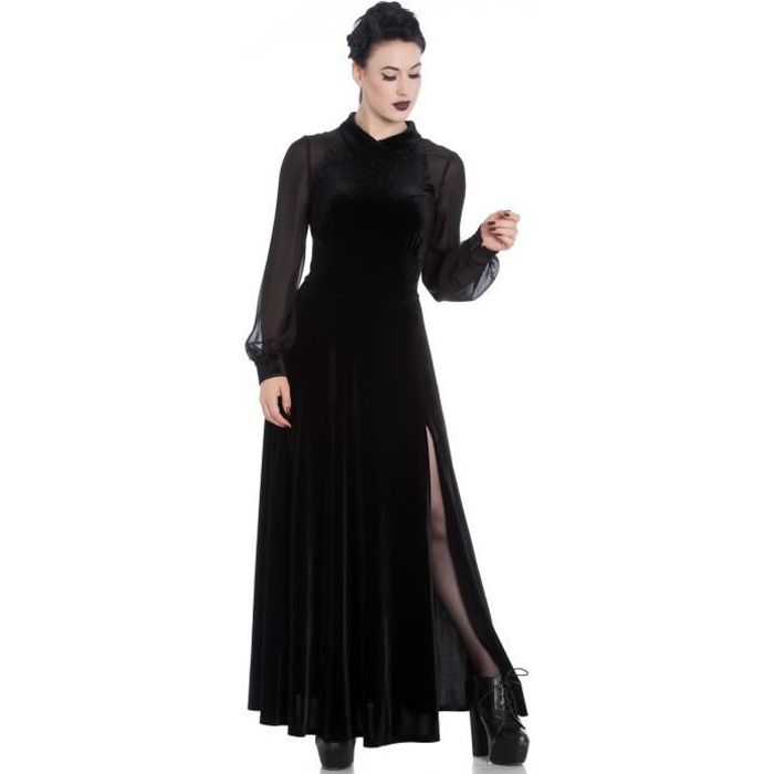 Longue Robe Noire En Velours Et Mousseline Avec Fente Spin Doctor Elegante Noir Achat Vente Robe Cdiscount