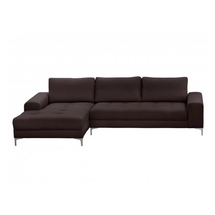 Canap d 39 angle antibes microfibre chocolat achat vente canap sofa - Canape angle chocolat ...