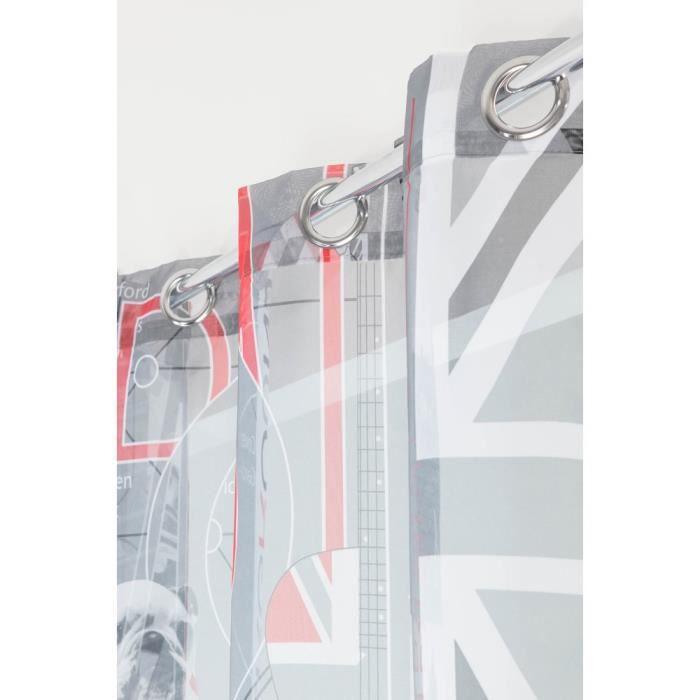 RideauDiscount Voilage Contemporain Original 6 Oeillets 140 x 240 cm Motif Funny Dog in London Blanc et Anthracite
