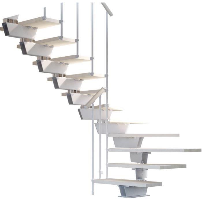 Escalier Double Quart Tournant 12 Marches Structure Métal Et Marches En Bois Massif Naturel Knock Misterstep
