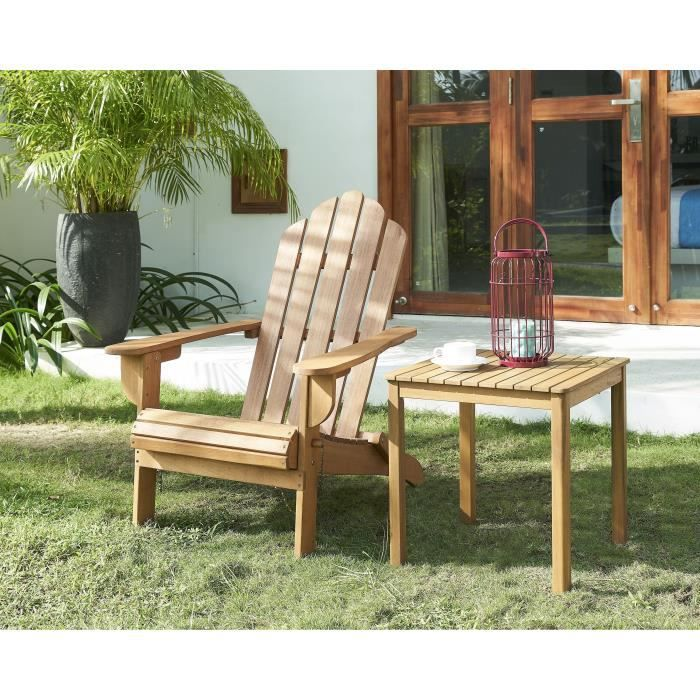 Chaise de salon jardin en bois naturel - 87,5 x 73,5 x 95,5 cm