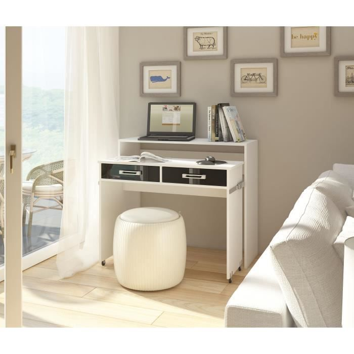 bureau blanc extensible achat vente bureau blanc extensible pas cher cdiscount. Black Bedroom Furniture Sets. Home Design Ideas