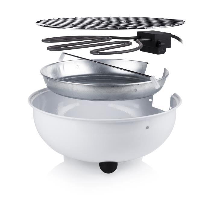 blanc 30 cm de diamètre 1250 Watt Tristar électrique Bbq Barbecue -//Grill de table