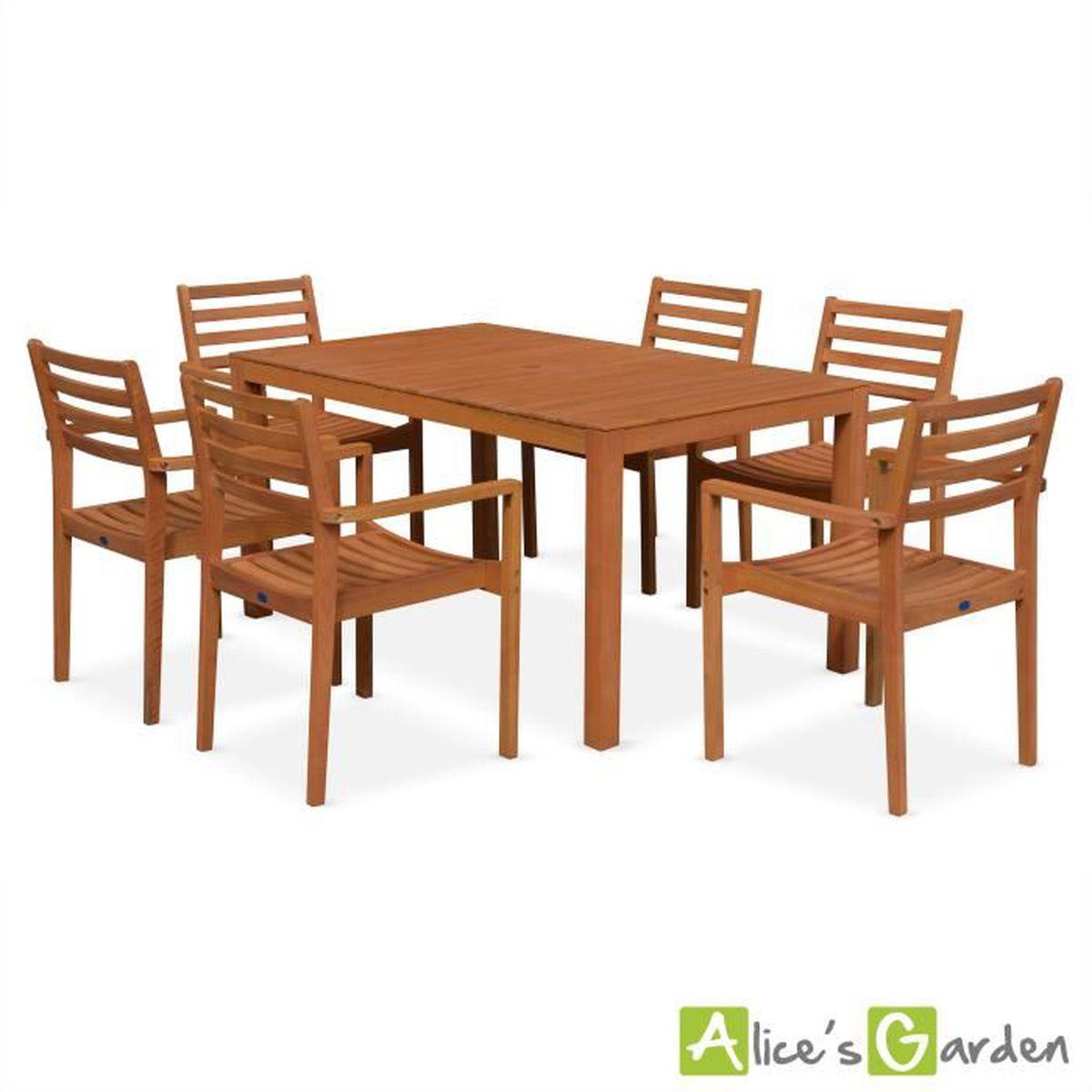 Salon de jardin en bois Cadaques, table 150cm rectangulaire ...