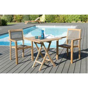Ensemble table et chaise de jardin Ensemble de jardin en teck : 1 table carrée pliant