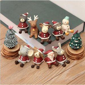 PERSONNAGES ET ANIMAUX Mini décoration en résine de Noël, ornements minia