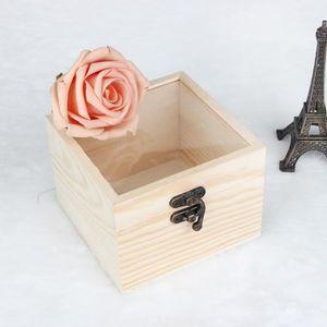BOITE DE RANGEMENT Boîte de rangement en bois avec couvercle d'or ser