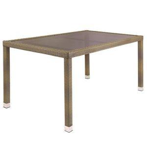 TABLE À MANGER SEULE Table de repas Rotin taupe/Verre - BAROS - L 160 x