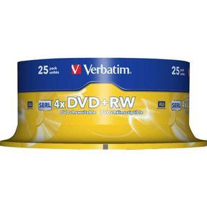 CD - DVD VIERGE Verbatim 25 x DVD+RW 4.7 Go 4x argent mat spindle