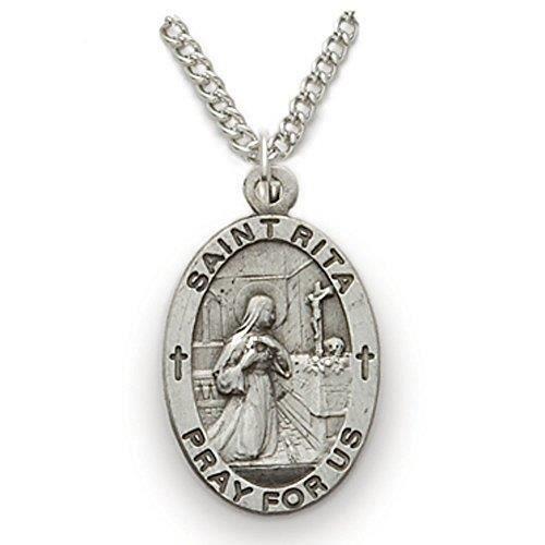 Chaine De Cou Vendue Seule Femmes en argent sterling ovale Saint Rita Patron de la Médaille Impossible Cases, 3-4 pouces Z0M6Z