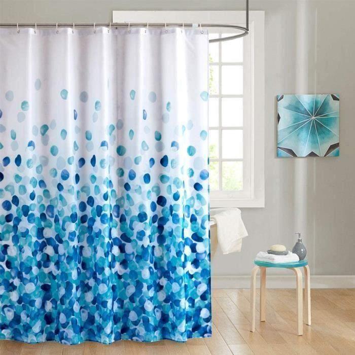 SC Rideau de Douche en Tissu Anti-moisissure Imperméable avec des Crochets, Antibactérien, Lavable en Machine Bleu 180 x180cm