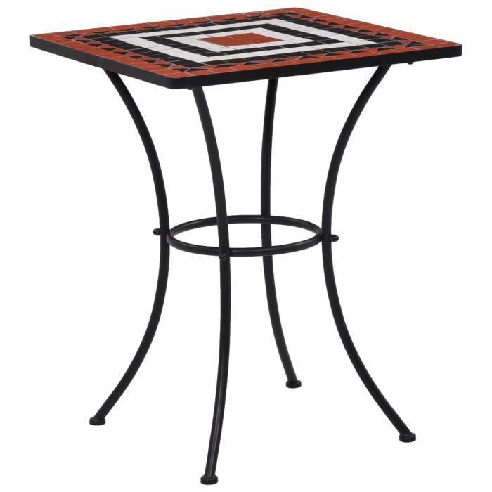 LINXI-Table de bistro mosaïque Terre cuite et blanc 60 cm Céramique