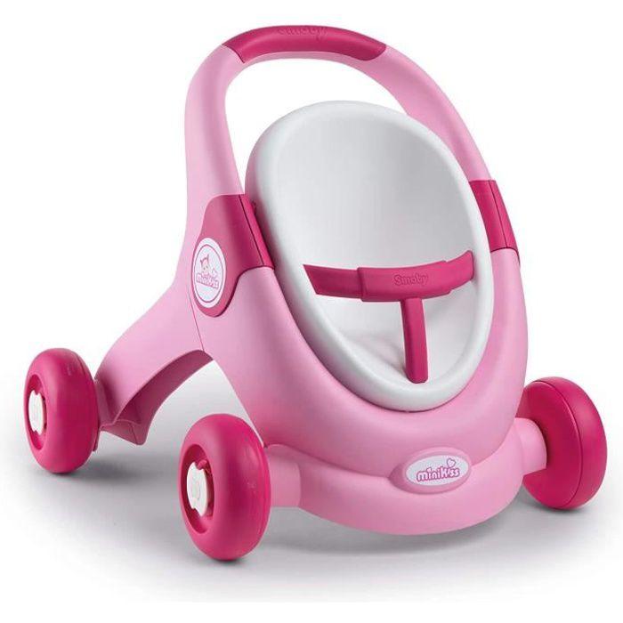 Smoby - Minikiss Baby Walker 3 en 1 - Trotteur Enfant + Poussette + Siège pour Poupons et Poupées - Ceinture de Maintien - Système d