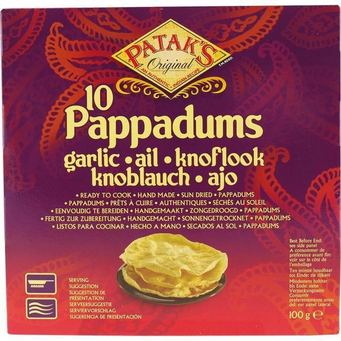 10 Pappadums à l'ail prêts à cuire - 100g