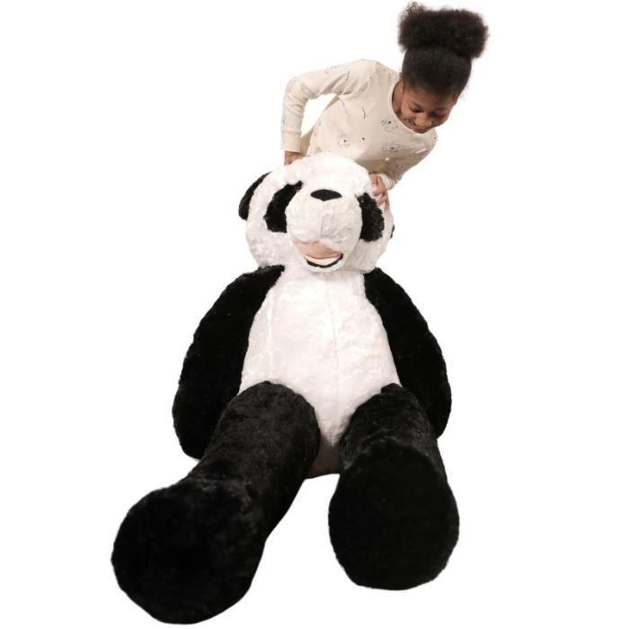 Peluche panda géante 160 cm ultra moelleuse et très douce, idéal en cadeaux de mariage, baptême ou anniversaire