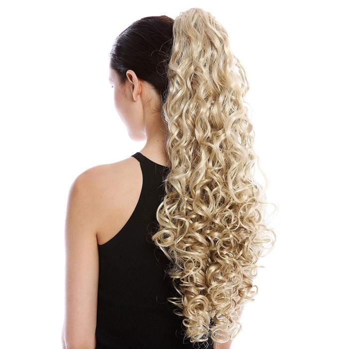 WIG ME UP ® - MKB-21-V-22TT613 Postiche couette queue de cheval peigne très long volumineux boucles blond clair platine mèches