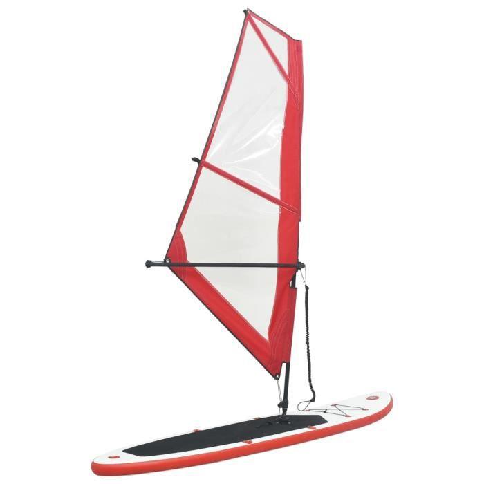 4588JOLI® Ensemble de planche SUP gonflable - Stand up paddle gonflable Moderne avec voile Rouge et blanc