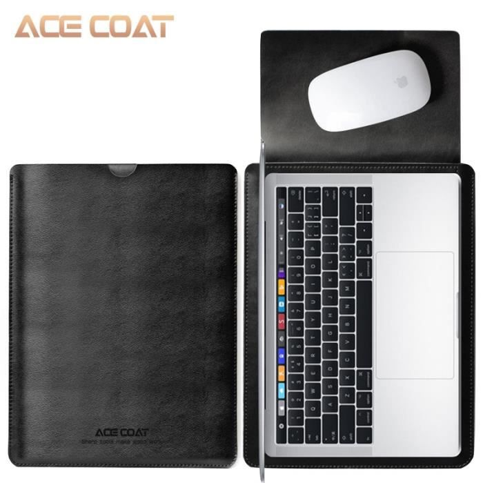 Sacoches & Housses Ordinateur,ACECOAT housse en cuir fendu sacs de protection étui pour ordinateur - Type black-MateBook D 14 inch