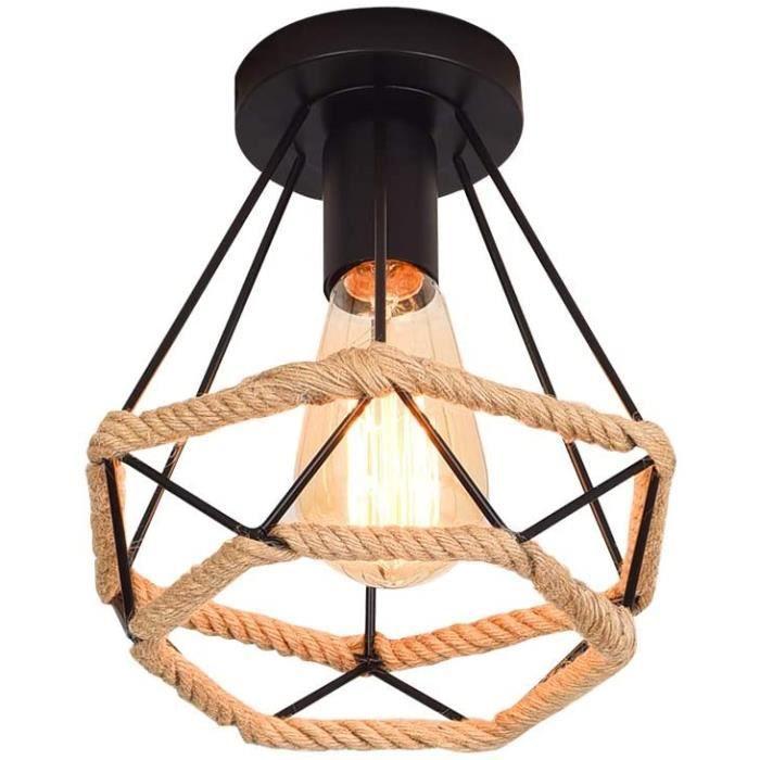 Lustre suspension Lampe de Plafond r&eacutetro vintage Plafonnier Industrielle Cage en forme Diamant en M&eacutetal avec corde49