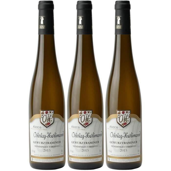 Alsace Gewurztraminer Vendanges tardives Blanc 2015 - Domaine OSTERTAG-HURLIMANN - Vin AOC Blanc d' Alsace - Lot de 3x50cl - C&e8