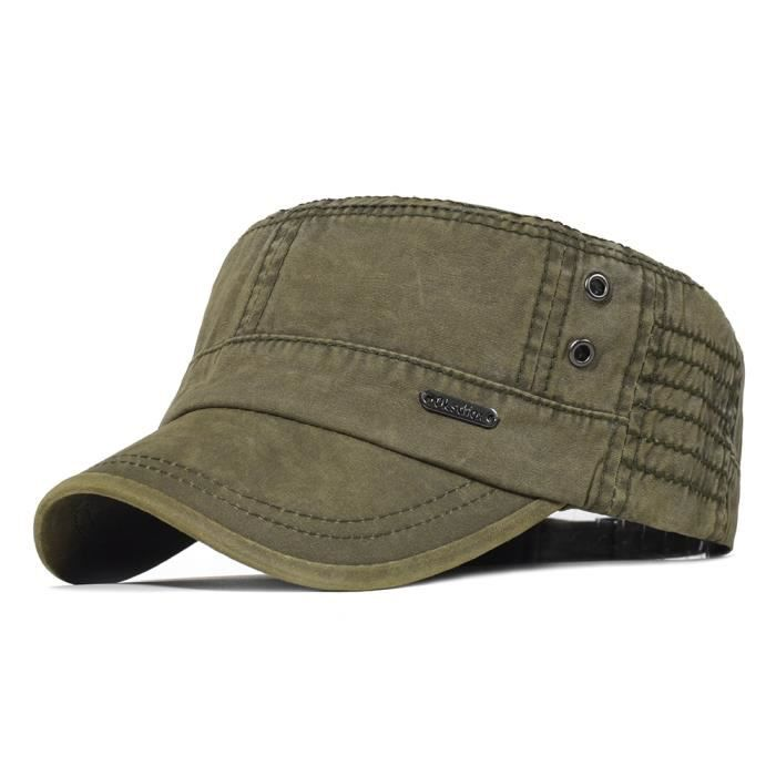 Casquettes militaires en coton lavé pour hommes, casquette Cadet militaire, Design Unique, Vintage c Vert armée Taille unique