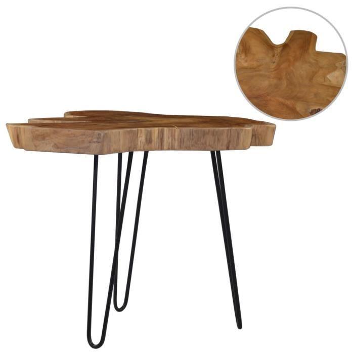 ��1364Parfait -Table basse décor design vintage scandinave - Table de salon Table de thé Table gigogne (60-70)x45 cm Bois de teck