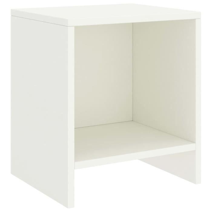 Table de chevet Blanc 35x30x40 cm Bois de pin massif