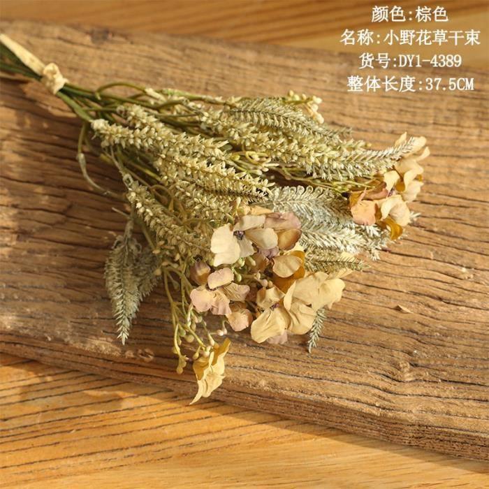 Décoration florale,1 bouquet fleur séchées fausse fleur de fleurs artificielles,plante artificielle fausses plantes - Type BROWN