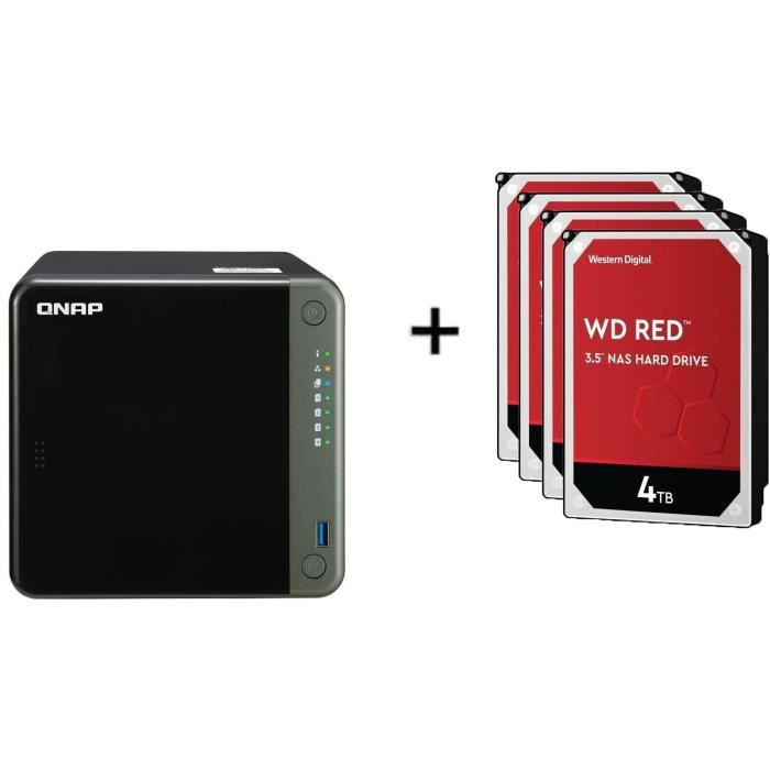 QNAP - Serveur Stockage (NAS) - TS-453D-4G - 4 Baies + WD Red™ - 4 Disque dur Interne NAS - 4To - 5 400 tr/min - 3.5- (WD40EFAX)