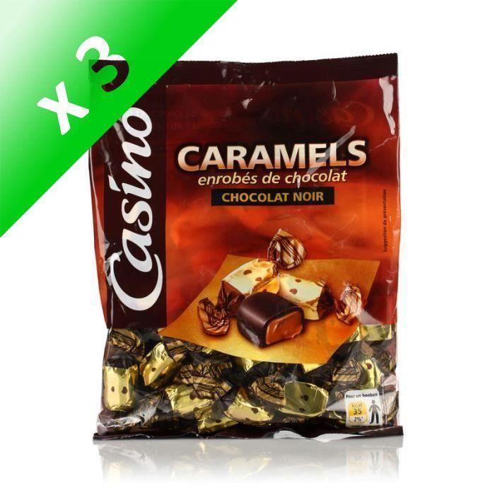 [LOT DE 3] LUTTI Caramels enrobés de chocolat noir - 280 g