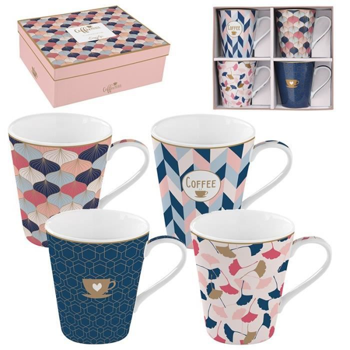 EasyLife - Coffret 4 Mugs en Porcelaine FINE COFFEE MANIA HOME SWEET HOME