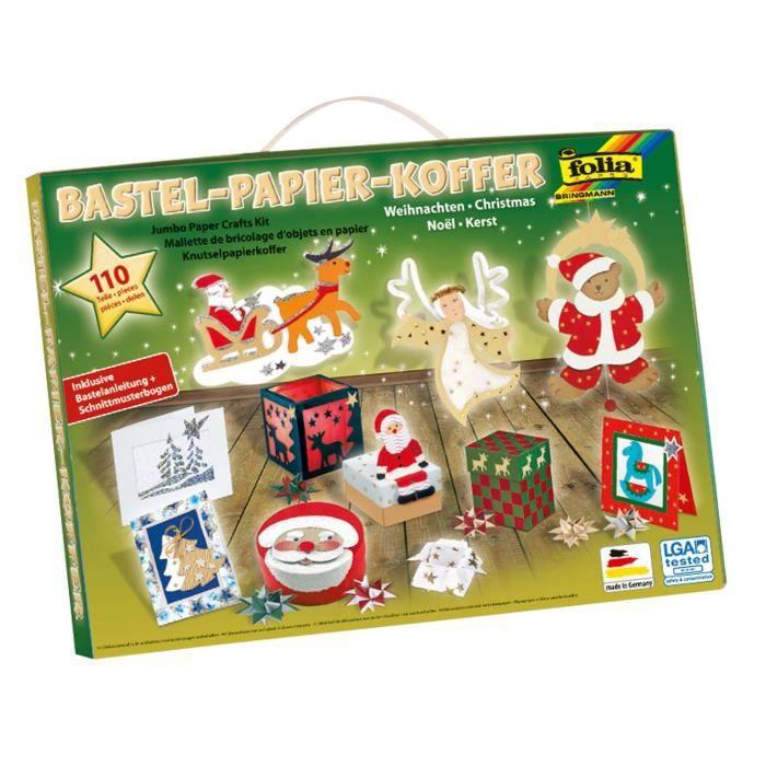 Mallette de bricolage papiers de Noël - 110 pièces