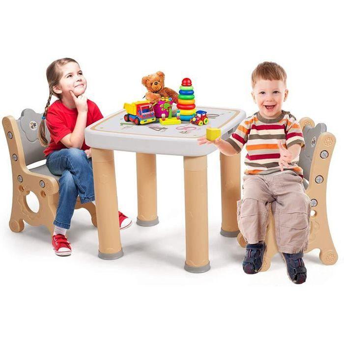 GOPLUS Ensemble de Table et 2Chaises pour Enfants Réglables de Hauteur avec Tiroir de Rangement, Table d'activités Multifonctionnel