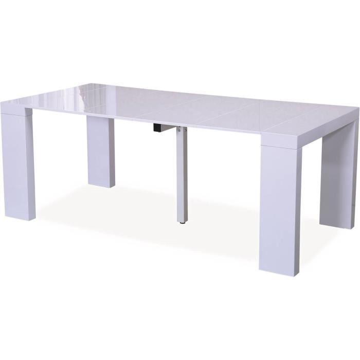 Table repas extensible -Dina- - 200/40 x 94 x 75 cm - Blanc laqué