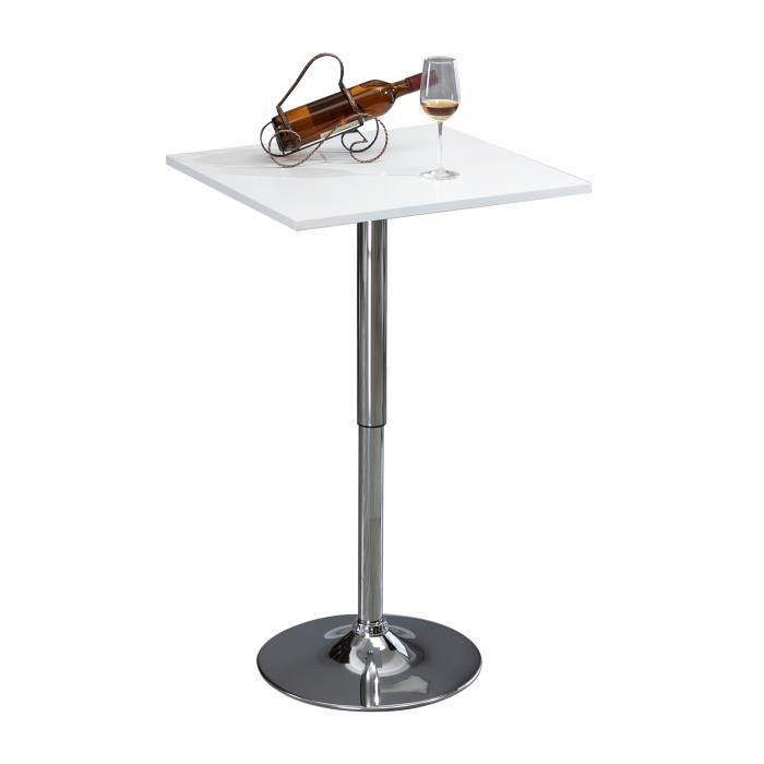 Table de bar table bistro chic style contemporain table carrée hauteur réglable dim. 60L x 60l x 82-103H cm métal chromé MDF blanc